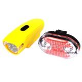 Велофара + задний фонарь для велосипеда KK830, желтый