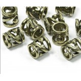 Бусина Трубка металлическая полая, бронза