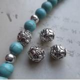 Бусина металлическая Шар Тибетский. Цвет: античное серебро. Размер 7*8 мм.