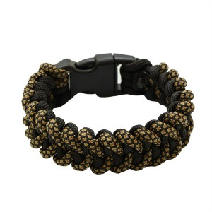 Браслет из паракорда, плетение Пиранья, двухцветный black & coyote brown snake #310