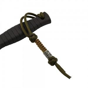 Темляк из паракорда , Diamond&Snake runes (нержавеющая сталь), army green