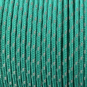 Minicord Reflective. Paracord 100 Type I (1.9 mm), emerald green #R2086-type1