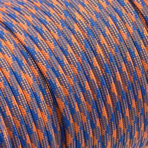 Paracord 550, blue orange camo #124