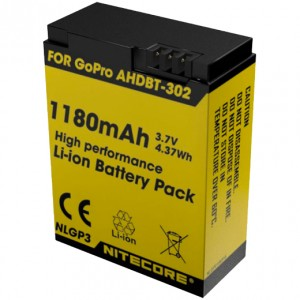 Аккумулятор литиевый Li-Ion Nitecore NLGP3 для GoPro AHDBT-302 3.7V (1180mAh)