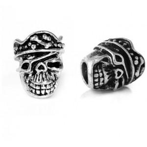 "Бусина ""Пиратский Череп "", серебро"